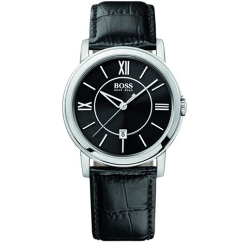 Hugo Boss 1512389 - Reloj analógico de caballero de cuarzo con correa de piel negra