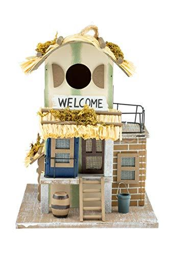 Clever Creations Bird Haus - Casa Colgante con Cartel «Welcome» para pájaros - para Exteriores - Madera