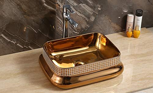 Design Keramik Waschtisch Aufsatz Waschbecken Waschplatz für Badezimmer Gäste WC, Aufsatzbecken Waschschale, Aufsatzwaschtisch handwaschbecken rose goldfarben 46 x 30 x 14 Cm (BxTxH) rechteckige