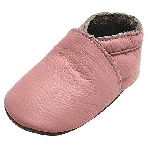 Mejale Chaussons Cuir Souple Chaussures Cuir Souple Chaussons enfants pantoufles Chaussures Premiers Pas, Rose, 12-18 mois