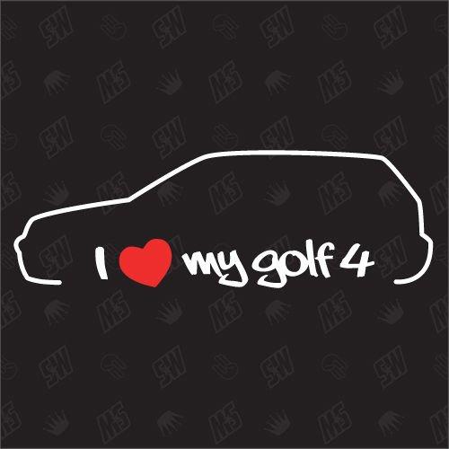 speedwerk-motorwear I Love My Golf 4 - Sticker kompatibel mit VW - Baujahr 1997-2003