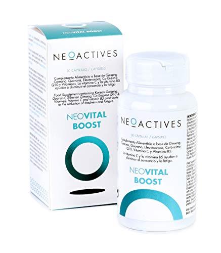 Neovital Boost | Complemento Alimenticio con Ginseng, Guaraná, Vitamina C, Co-Enzima Q10, Vitamina B5 y otros ingredientes naturales | Ayuda a combatir el cansancio y proporcionar vitalidad (30)
