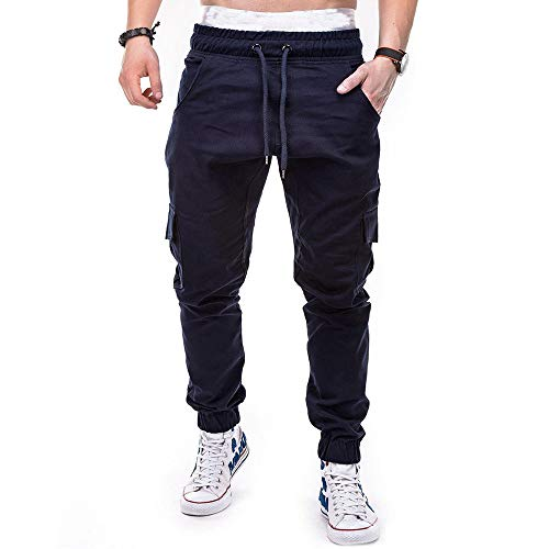 Pantalones Hombre Moda Casual Multi-Bolsillo Trabajo Corta Pantalones Pants Jogging Color sólido Deportivo Pantalon Fitness Chandal Elástica Transpirable Cómodo riou