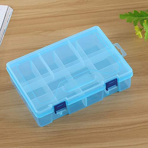 QICHENGBIN Mini Coffret à Bijoux Double Couche 8 Fentes Bijoux boîte en Plastique Organisateur de Stockage de conteneurs Intercalaires réglables, for Stocker Boucles/Anneaux/Perles (Color : Blue)