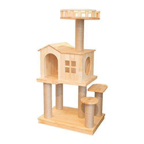 LiPengTaoShop Kratzbaum Cat Turm Katze Möbel Cat Condo Katzenhaus Massivholz-Kratzbaum Mit Plattform Katzenzubehör Kratzbäume Und Türme (Color : Beige, Size : 60 * 40 * 113cm)