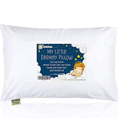Toddler Pillow with Pillowcase - 13X18 Soft Organic Cotton Baby Pillows for Sleeping - Machine Washable - Toddlers, Kids, Boy, Girl - Perfect for Travel, Toddler Cot, Bed Set (Soft White)