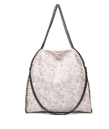 Angleliu Damen PU lässigen Kette Handtasche Modisch Schultertaschen Glitzer Beuteltasche (Rosa weiß)