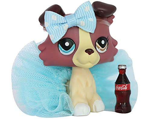 LPSXIE LPS Collie 1262 Red Different Eyes Dog Figure Toy Collection with Accessories Boy Girl Gift Set (lps Collie 1262)
