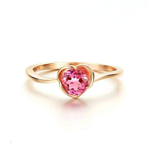 Epinki Anillo de Diamantes para Mujer Oro de 18 quilates Anillos (Au750), 0.5Ct Ronda con Rosa Turmalina Flores Anillos de Compromiso Anillo Solitario Para Novia