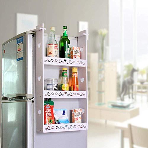 XHNXHN Mensola portaoggetti Lato Frigorifero, Organizzatore portaspezie frigo a 3 Strati, Mensole Cucina Multiuso, Bianco