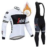 CQXMM Jerseys de Ciclismo para Hombres, Trajes de Ciclismo de Invierno de Manga Larga y Babero MTB Warm Bike Clothing