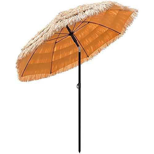Sombrilla de paja al aire libre de 2 m (6,5 pies) inclinable 45 ° de paja paraguas redondo hawaiano Tiki para alberca jardín tropical palapa paraguas