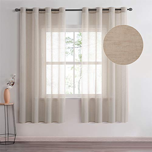 Topfinel Voile Gardine Ösenvorhang in Leinen-Optik Transparent Vorhänge Dekorativ für Zimmer Fensterschals Kinderzimmer 2er Set Khaki 145/140cm (BxH)