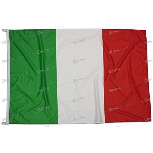Bandiera Italia 100x70 Centimetri Tessuto Nautico Antivento 115 Gram/m², Bandiera Italiana 100x70, Bandiera d'Italia Dotata di Cordino o Ganci, Doppia Cucitura Perimetrale e Fettuccia di Rinforzo