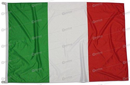 Bandiera Italia 225x150 Centimetri Tessuto Nautico Antivento 115 gram/m², Bandiera Italiana 225x150, Bandiera d'Italia Dotata Di Cordino o Ganci, Doppia Cucitura Perimetrale, Fettuccia Di Rinforzo