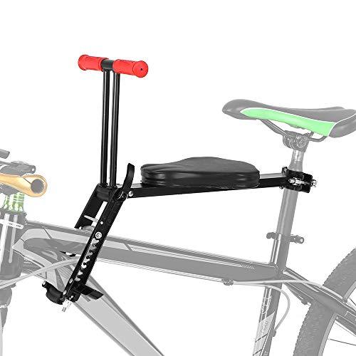 Kindersattel Fahrrad Vorne,Fahrrad Kindersitz ,Leichte faltbare Kinderfahrradsitz montieren Kindersicherheit Vordersitz Sattelträger(Schwarz)