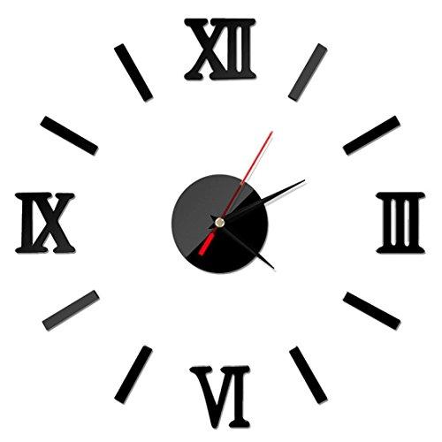 saisiyiky Reloj de Pared 3D con números Adhesivos DIY Bricolaje Moderno decoración Adorno para hogar y Oficina Etiqueta de Pegatina de Pared Desmontable acrílico Reloj Decorativo Espejo 3D
