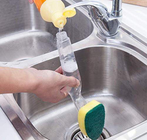KeepGrace Auswechselbares Schwamm-Couring-Pad Waschkomfort Reinigungsbürste Wäscher Seifenspender Auffangschale mit Nachfüllflüssigkeit