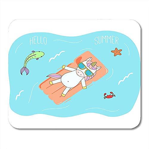 Mauspad Mausunterlage Nettes Einhorn In Der Sonnenbrille, Die Das Meer Auf Aufblasbarer Luftmatratze Schwimmt, Fischt Seestern- Und Krabbentext-Mausunterlage 25X30Cm