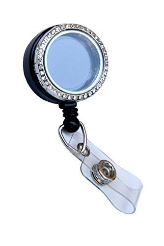 Rhinestone Lined Memory Locket ID Badge Reel/ID Badge Holder (Silver (Stones))