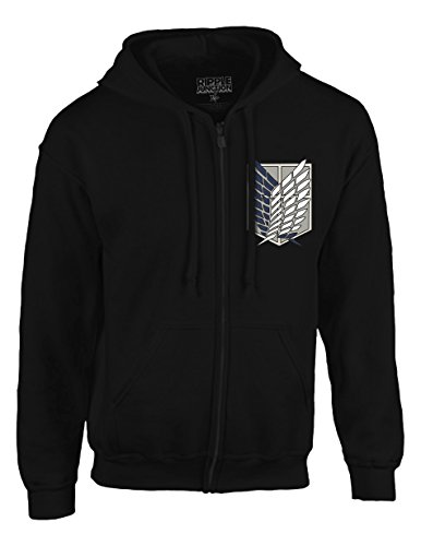 Ripple Junction Attack on Titan Survey Corps Adult Zip Hoodie XL Black