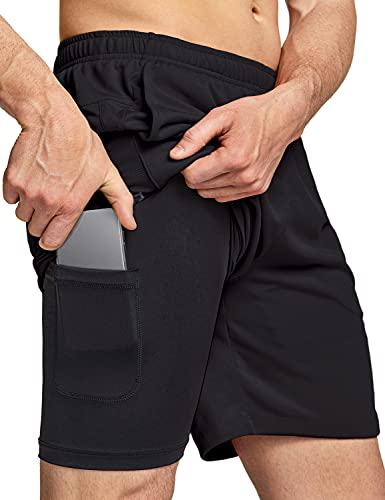 TSLA Men's 2 in 1 Active Running Shorts, Quick Dry Exercise Workout Shorts, Gym Training Athletic Shorts with Pockets, Hyper Dri Single Pack 2in1 Black, Medium