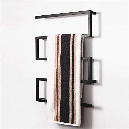 Toallero eléctrico con toallero eléctrico, color negro, calentador de toallas eléctrico, toallero eléctrico en forma de arco, mantiene las toallas y la ropa secas, 35.4 x 25.6 pulgadas