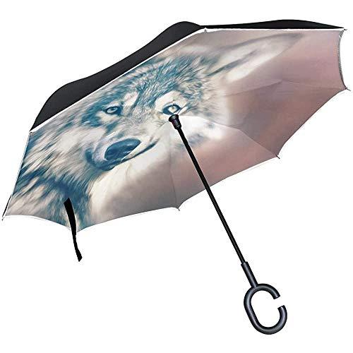 Alice Eva Umgekehrter Regenschirm Wolf Predator Canidae Canis Lupus Hunter Regenschirme Umgekehrter Taschenschirm Großer, gerader Regenschirm