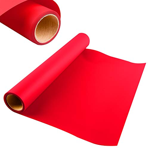 KISSWILL Heat Transfer Vinyl HTV for T-Shirts, Hats, Clothing, 12 Inches by 6 Feet Iron on HTV Vinyl Rolls for Cutting Machines (Red)