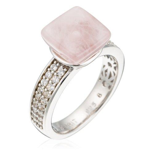Esprit Damen-Ring pure rose 925 SterlingSilber 36 Zirkonia farblos 1 Rosenquarz rosa