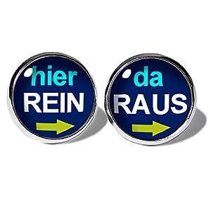 Blaue Hier Rein Da Raus Ohrstecker ABOUKI Unisex Damen Herren Kind Kinder Edelstahl Ohrschmuck mit lustigem Spruch-Motiv…