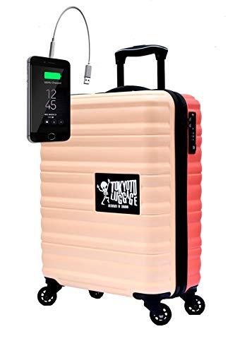 TOKYOTO – Valigia Rigida Beige Coral, 55x40x20cm, Con Caricatore USB 8000mAh | Trolley Giovanile Per Ragazzi, 4 Ruote 360º | Bagaglio A Mano Per Ryanair, Easyjet, Vueling