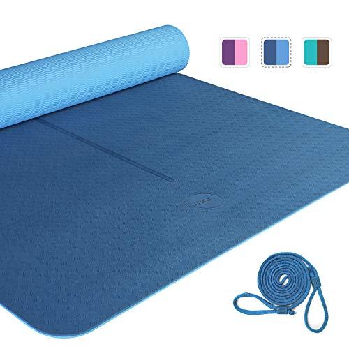 Amazon Brand - Umi - Esterilla Yoga Antideslizante ,TPE Alfombrilla de Yoga, Esterilla Pilates con Línea Auxiliar,Esterilla Deporte-con Bandolera(Azul, 1830×800×6mm)