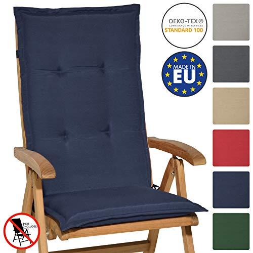 Beautissu Matelas Coussin pour Chaise Fauteuil de Jardin terrasse Loft HL 120x50x6cm - Dossier Haut - Bleu foncé