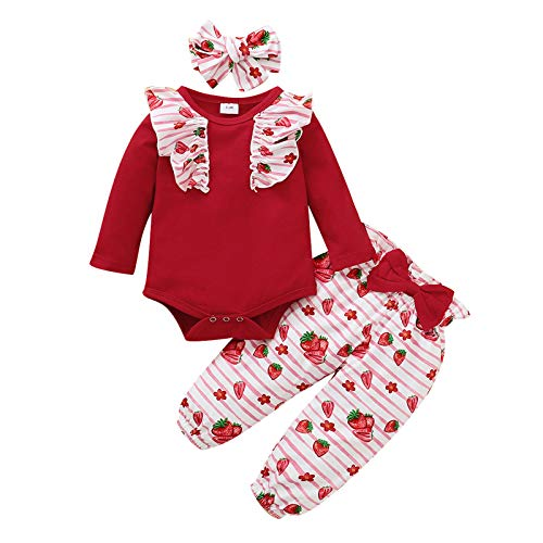 JERFER Säugling Baby Mädchen Rüschen Strampler Bodysuit Erdbeere Hose Stirnbänder Outfits A91