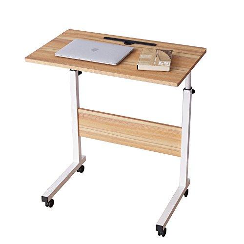 DlandHome 60 * 40 cm Ajustable Mesa de Ordenador Portatil con Ruedas Sofá Mesa Mesas de Centro,con Ranura para Tableta, Roble