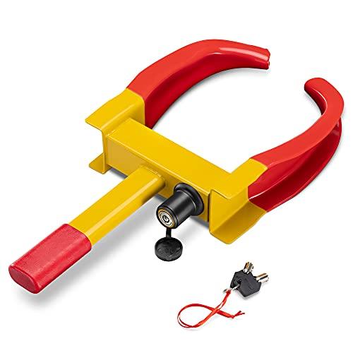 Navaris Reifen Parkkralle mit Schloss - inkl. Schlüssel - universell verwendbar für Auto Wohnmobil Räder - 47 x 24 x 6cm - Radkralle Wegfahrsperre