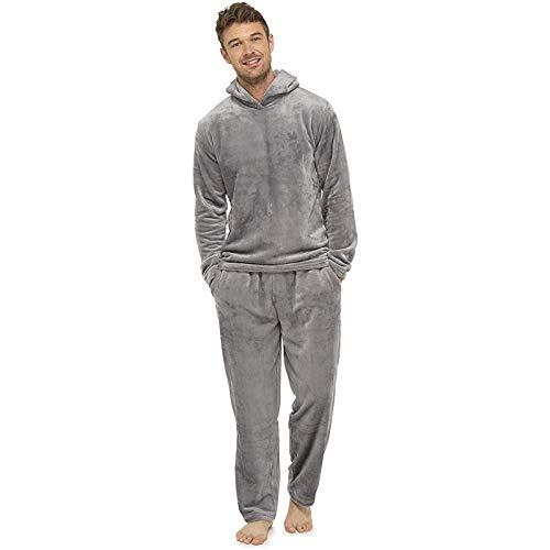 Schlafanzug Herren Lang,Velours Hoodie und Schlafhose Set, Zweiteiliger Freizeitanzug Pyjama Winter, Hausanzug Herren Rundhals Pullover+Jogginghose mit Tasche