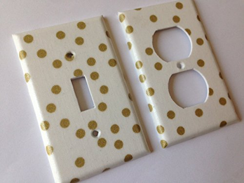 Gold White Polka Dots Light Switch Cover Various Sizes Offered