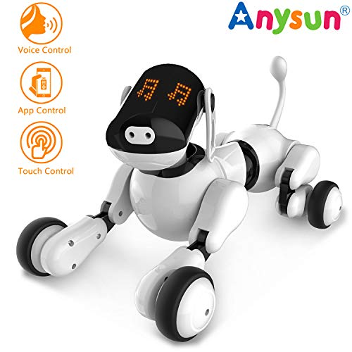 Smart Robot Dog Toy, Interactive Intelligent Programmable Rechargeable Robot Puppy Toys Electronic Pets Voice App Touch Controlled with Bluetooth Speaker for Boys Girls Kids