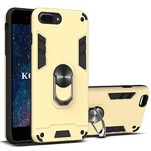 KOUYI Funda iPhone 8 Plus/iPhone 7 Plus (5,5 Pulgadas),Armor Carcasa con 360 Anillo iman Soporte Hard PC y Silicona TPU Bumper antigolpes Fundas Desmontable 2 en 1 Carcasas Case (Oro)