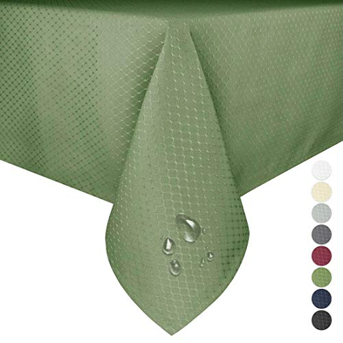 Eforgift Spill Proof Tablecloth Stain Resistant Polyester Fabric Sage Green Table Covers for Kitchen Dining Table, Soft and Durable, 52 x 70 inches