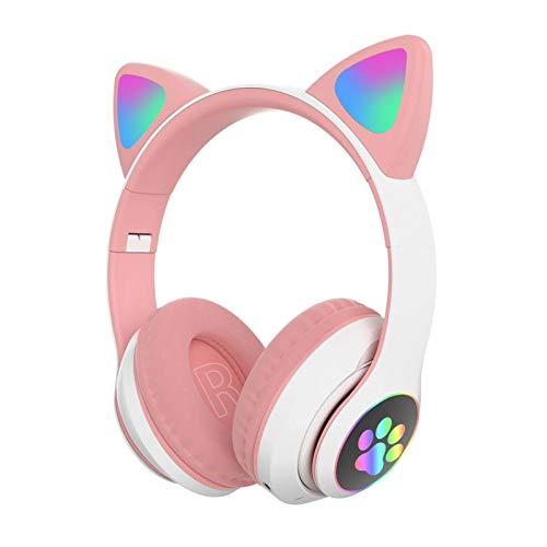 Katzenohr-Kopfhörer, faltbar, kabellos, Bluetooth, Gaming-Headset mit Mikrofon und LED-Licht, leuchtend, Over-Ear-Kopfhörer, Geschenk für Kinder und Erwachsene