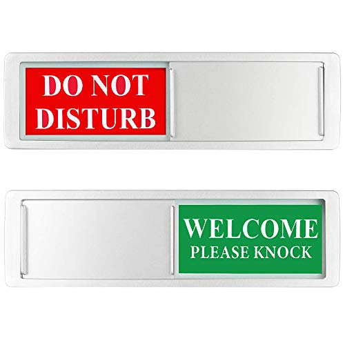 Privacy Sign - Do Not Disturb/Welcome Sign for Home Office Restroom Conference Hotel Hospital, Easy to Read Non-Scratch Magnetic Slider Door Indicator Sign with Clear, Bold & Colored Text (Silver)