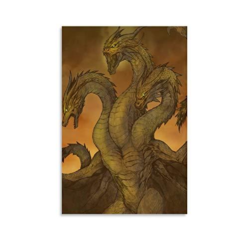 DRAGON VINES Godzilla King of The Monsters Dreiköpfiger König Gidola Behemoth Research Mutations King Art Leinwandposter Wanddekoration für Wohnzimmer 50 x 75 cm