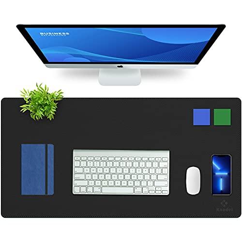 Knodel Desk Mat, Office Desk Pad, 40cm x 80cm PU Leather Desk Blotter, Laptop Desk Mat, Waterproof Desk Writing Pad for Office and Home, Dual-Sided (Black/Black)