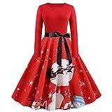 WAOTIER Vestido de cóctel retro para mujer de los años 50, elegante, floral, vestido de fiesta, vestido para mujer, cuello redondo, vestido de fiesta de Halloween, Navidad, rosso, 3XL