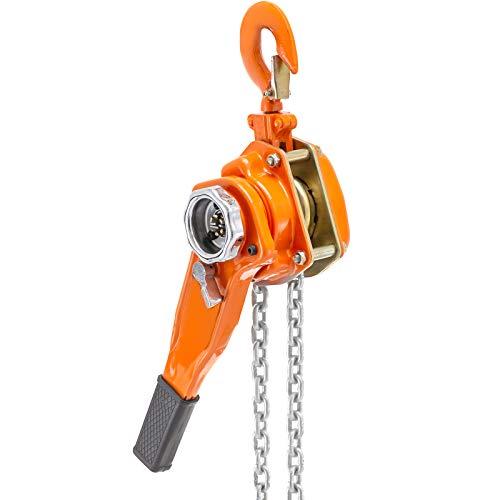 Happybuy 0.75 Ton Chain Hoist 10 FT Lift Lever Block Chain Hoist 1650LBS Chain Ratchet Lever Block Chain Hoist Come Along Lift Puller (0.75 Ton 10ft)