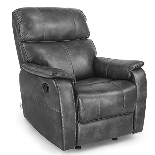 Fabric Leather Recliner Chair, Manual Rocker Recliner, Ergonomic Lounge Heavy Duty, Living Room Chair/Home Theater/Guest Room/Study Room(Grey)