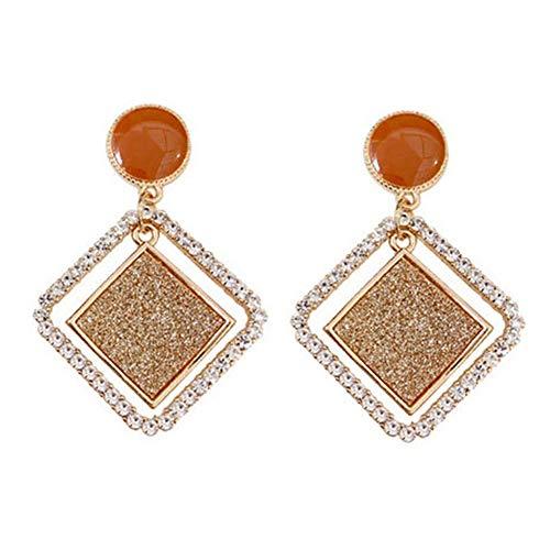 WFZ17 Pendientes geométricos de diamantes de imitación esmerilados, para mujeres y niñas, color dorado